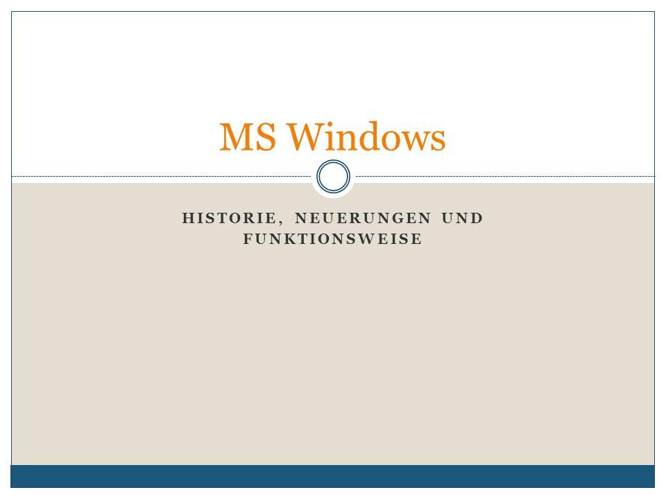 HISTORIE, NEUERUNGEN UND FUNKTIONSWEISE MS Windows