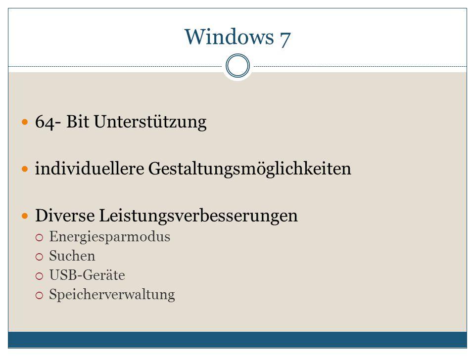 64- Bit Unterstützung individuellere Gestaltungsmöglichkeiten Diverse Leistungsverbesserungen  Energiesparmodus  Suchen  USB-Geräte  Speicherverwaltung Windows 7
