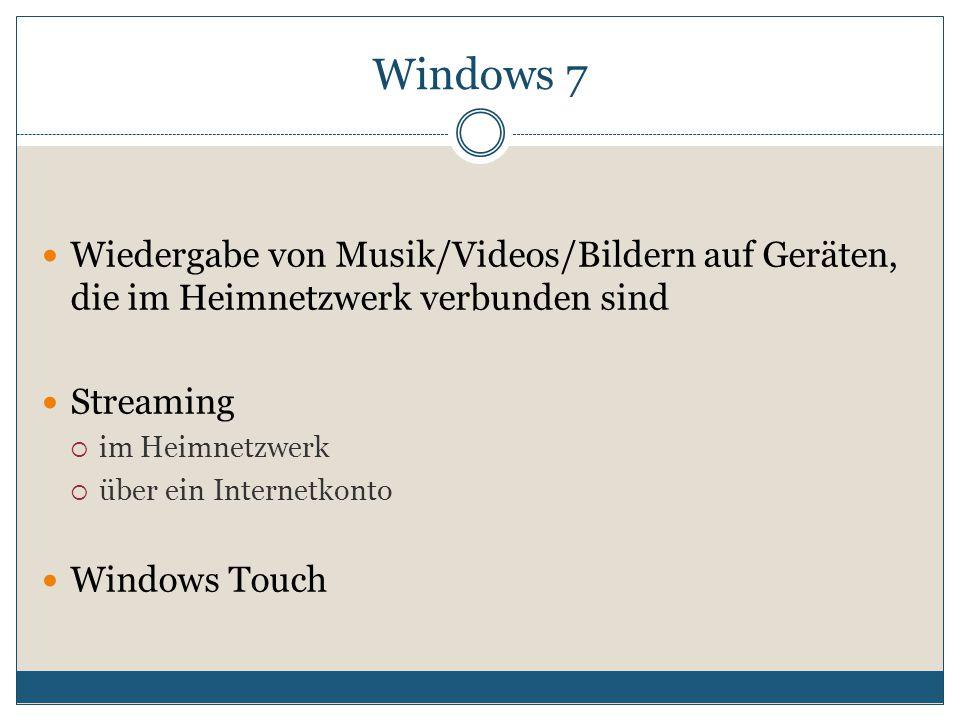 Wiedergabe von Musik/Videos/Bildern auf Geräten, die im Heimnetzwerk verbunden sind Streaming  im Heimnetzwerk  über ein Internetkonto Windows Touch Windows 7
