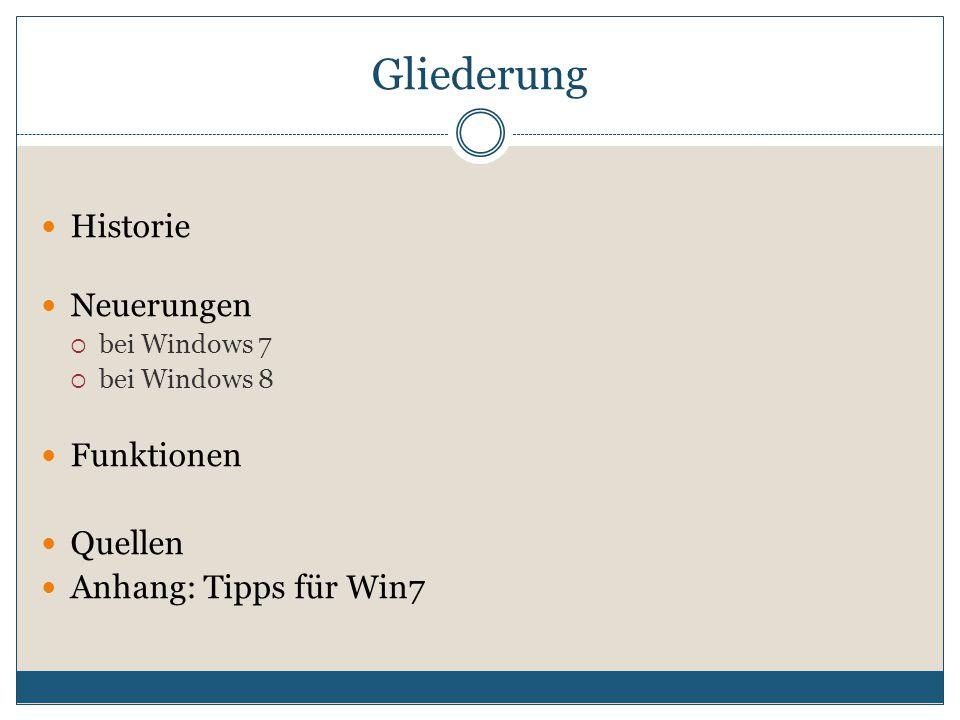 Gliederung Historie Neuerungen  bei Windows 7  bei Windows 8 Funktionen Quellen Anhang: Tipps für Win7