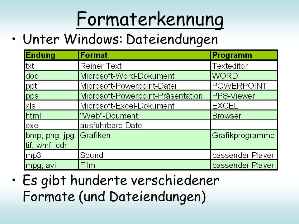Formaterkennung Unter Windows: Dateiendungen Es gibt hunderte verschiedener Formate (und Dateiendungen)