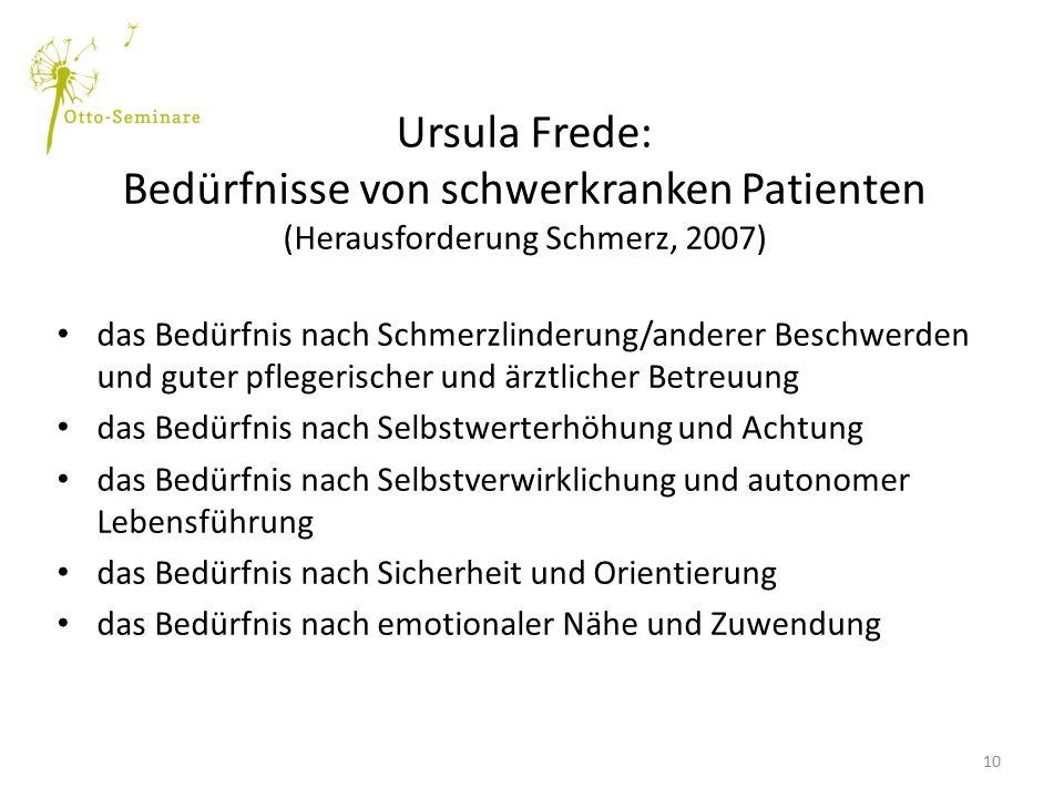 Ursula Frede: Bedürfnisse von schwerkranken Patienten (Herausforderung Schmerz, 2007) das Bedürfnis nach Schmerzlinderung/anderer Beschwerden und gute