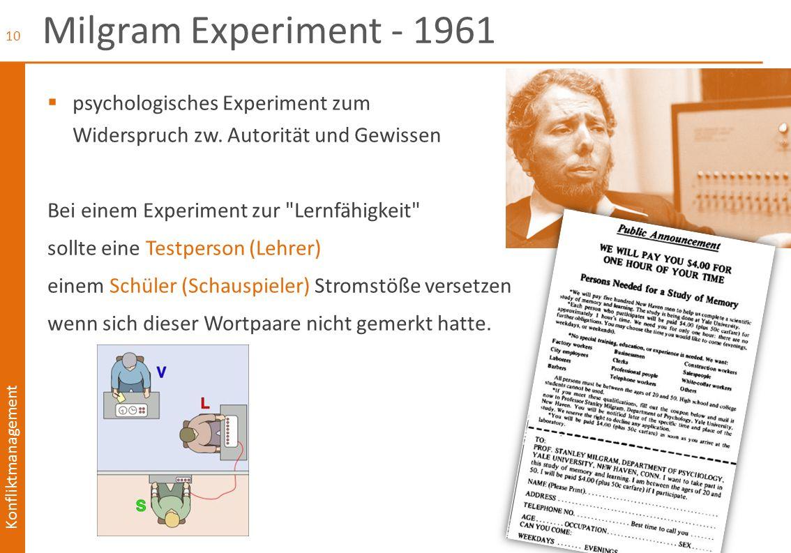 Konfliktmanagement Milgram Experiment - 1961  psychologisches Experiment zum Widerspruch zw. Autorität und Gewissen Bei einem Experiment zur