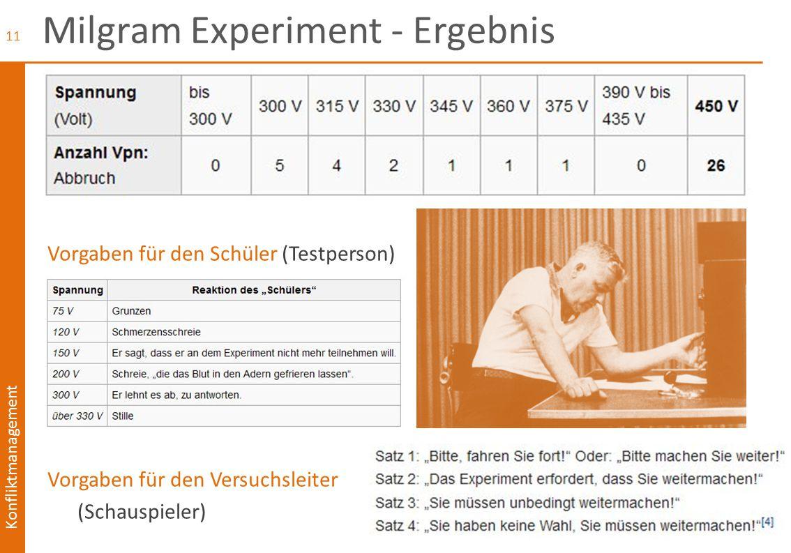 Konfliktmanagement Milgram Experiment - Ergebnis Vorgaben für den Schüler (Testperson) Vorgaben für den Versuchsleiter (Schauspieler) 11