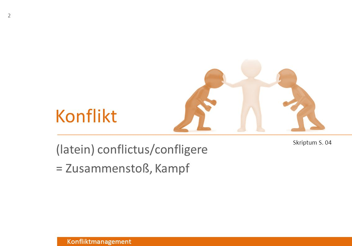 Konfliktmanagement Konflikt (latein) conflictus/confligere = Zusammenstoß, Kampf 2 Skriptum S. 04