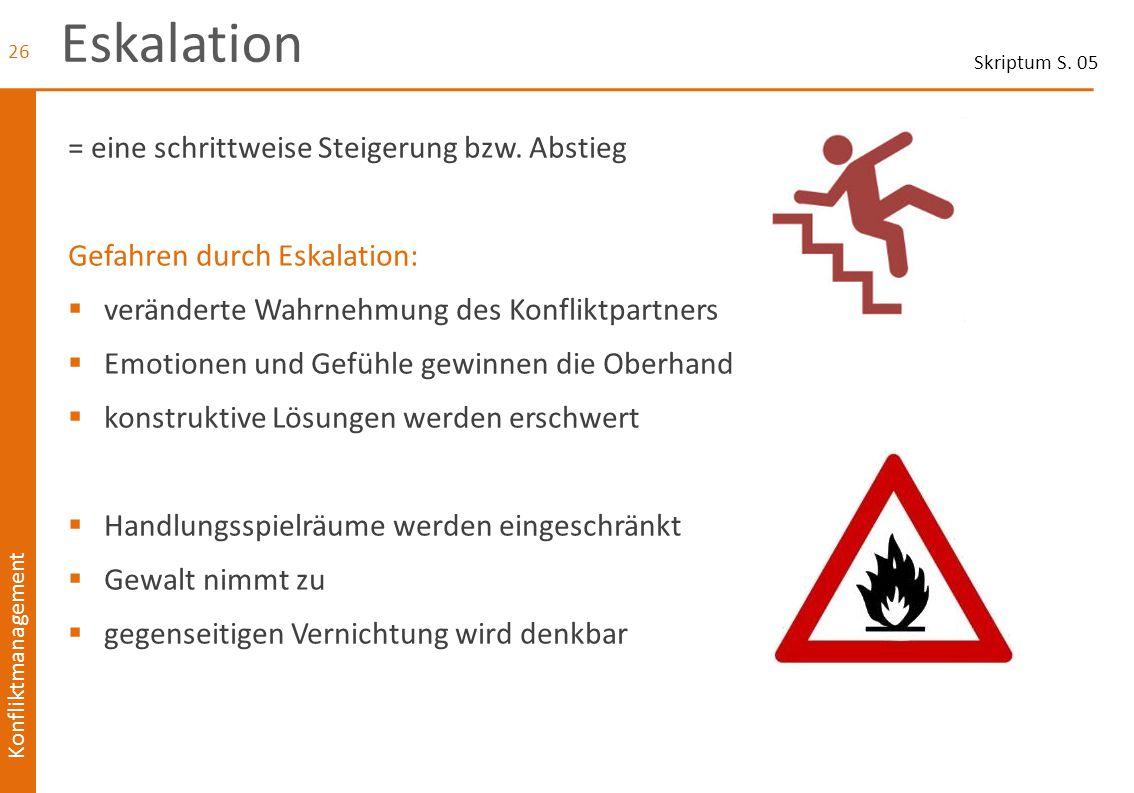Konfliktmanagement Eskalation = eine schrittweise Steigerung bzw. Abstieg Gefahren durch Eskalation:  veränderte Wahrnehmung des Konfliktpartners  E