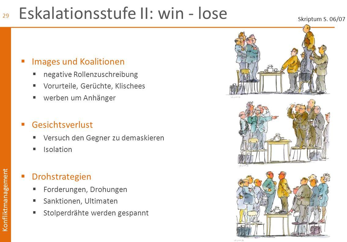 Konfliktmanagement Eskalationsstufe II: win - lose  Images und Koalitionen  negative Rollenzuschreibung  Vorurteile, Gerüchte, Klischees  werben u