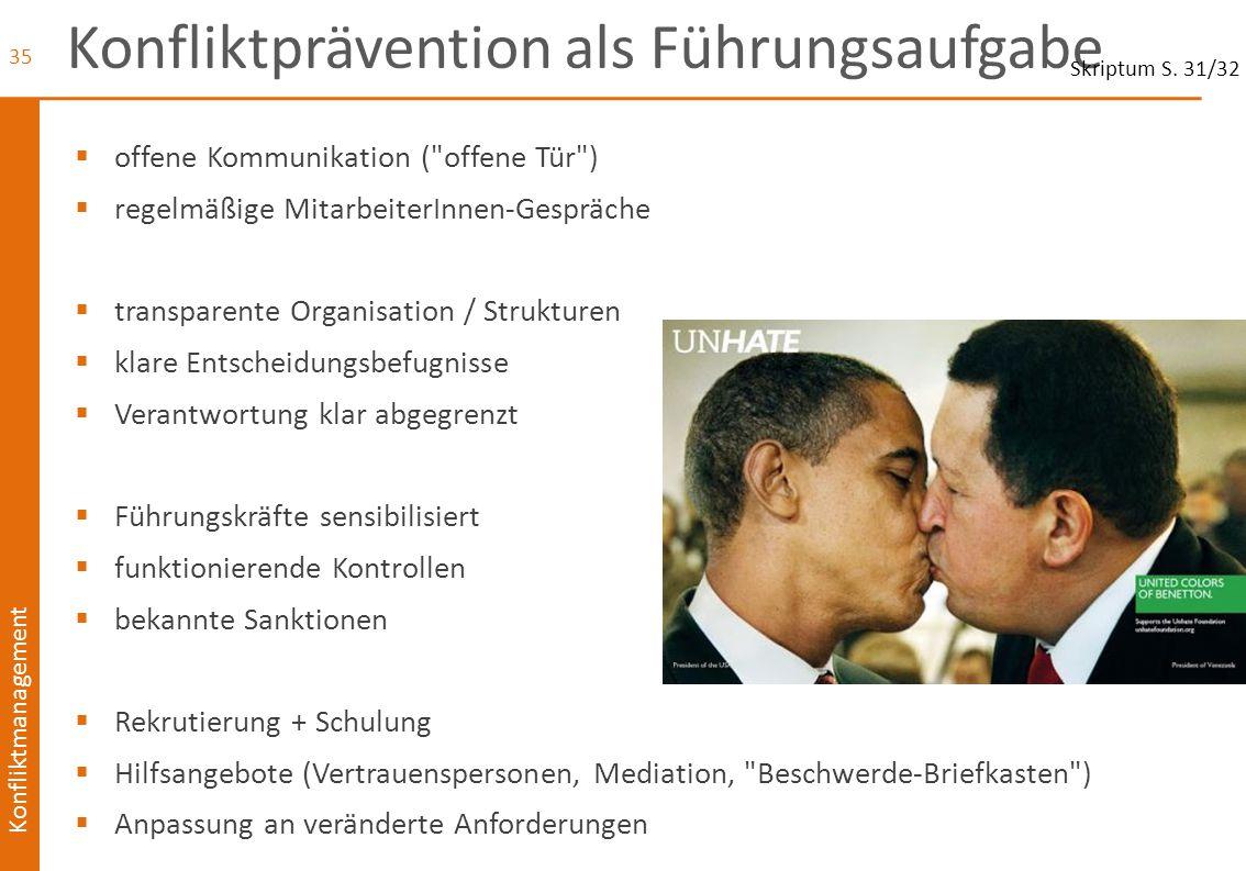 Konfliktmanagement Konfliktprävention als Führungsaufgabe  offene Kommunikation (