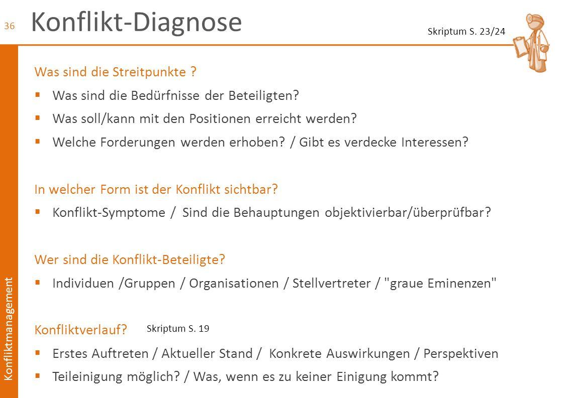 Konfliktmanagement Konflikt-Diagnose Was sind die Streitpunkte ?  Was sind die Bedürfnisse der Beteiligten?  Was soll/kann mit den Positionen erreic