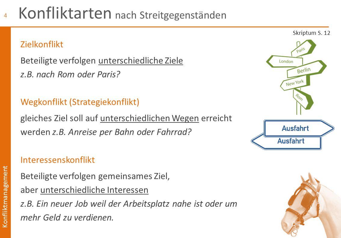 Konfliktmanagement Konfliktarten nach Streitgegenständen 2 Wahrnehmungskonflikt unterschiedliche Wahrnehmungen z.B.