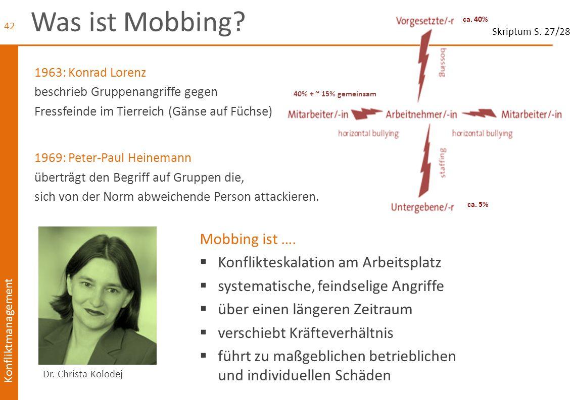Konfliktmanagement Was ist Mobbing? 1963: Konrad Lorenz beschrieb Gruppenangriffe gegen Fressfeinde im Tierreich (Gänse auf Füchse) 1969: Peter-Paul H