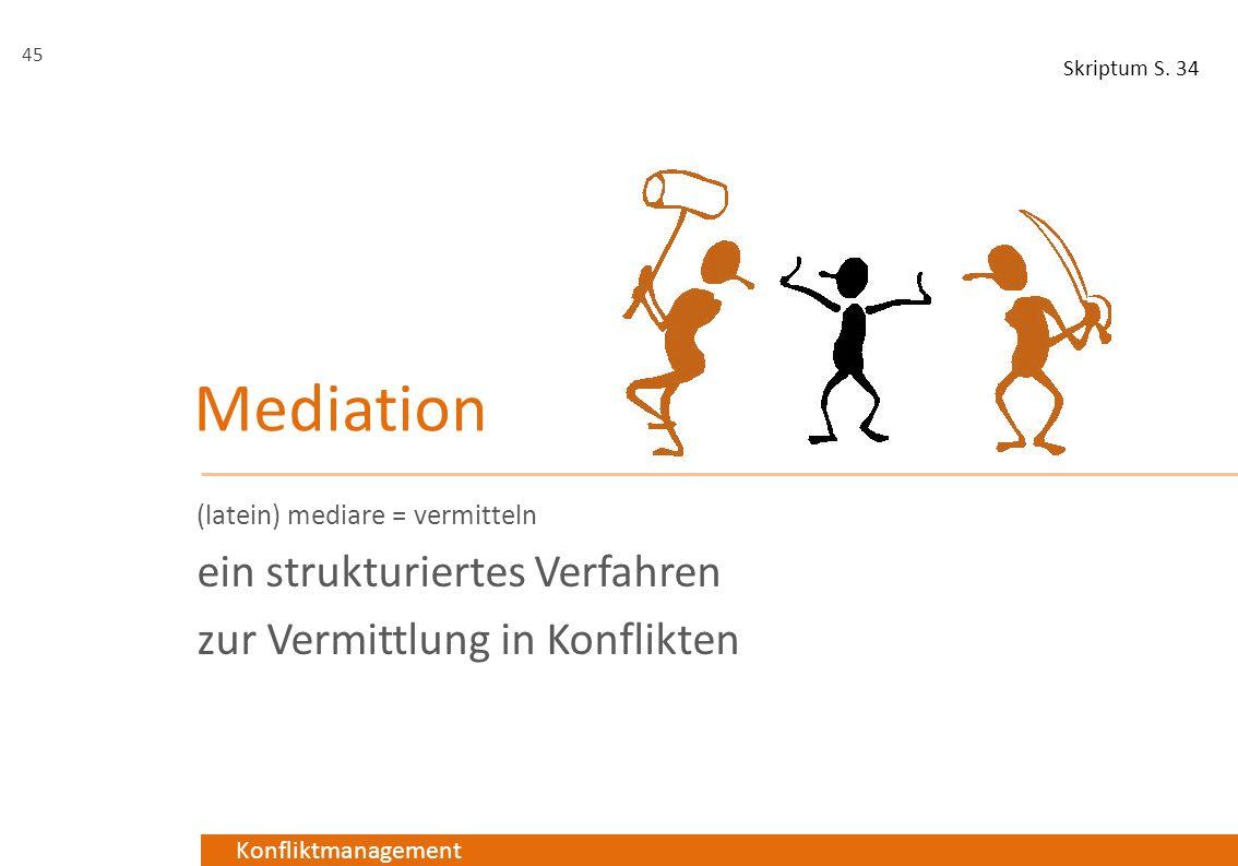 Konfliktmanagement Mediation (latein) mediare = vermitteln ein strukturiertes Verfahren zur Vermittlung in Konflikten 45 Skriptum S. 34