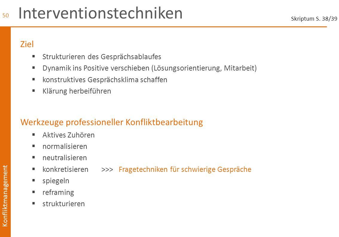 Konfliktmanagement Interventionstechniken Ziel  Strukturieren des Gesprächsablaufes  Dynamik ins Positive verschieben (Lösungsorientierung, Mitarbei