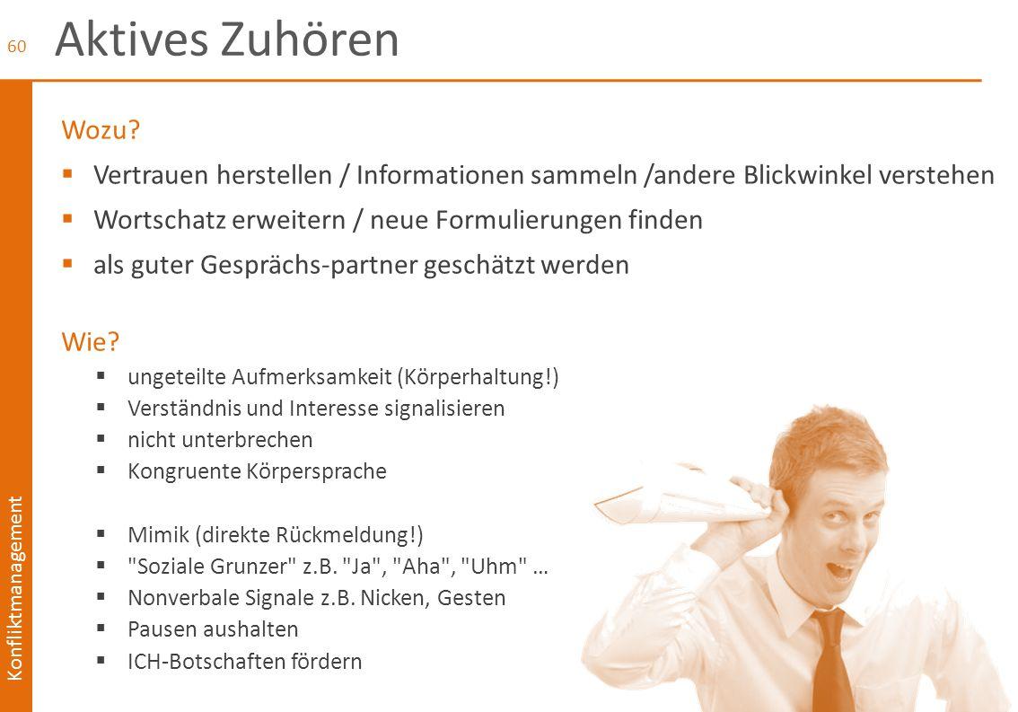 Konfliktmanagement Aktives Zuhören Wozu?  Vertrauen herstellen / Informationen sammeln /andere Blickwinkel verstehen  Wortschatz erweitern / neue Fo