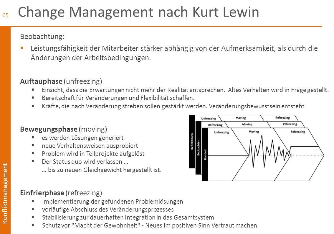 Konfliktmanagement Change Management nach Kurt Lewin Beobachtung:  Leistungsfähigkeit der Mitarbeiter stärker abhängig von der Aufmerksamkeit, als du