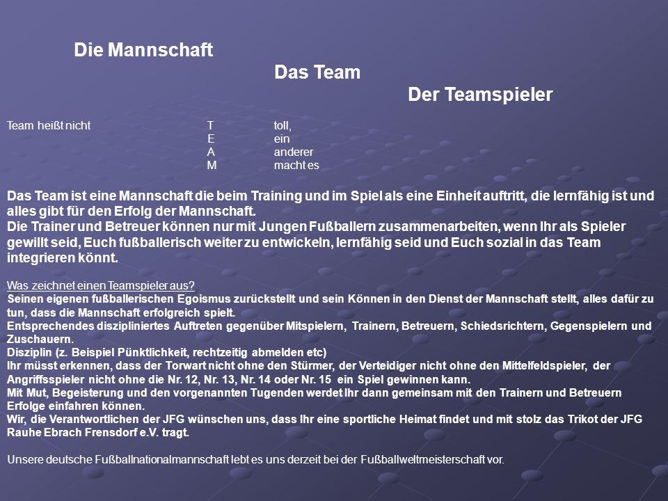 Die Mannschaft Das Team Der Teamspieler Team heißt nichtTtoll, Eein Aanderer Mmacht es Das Team ist eine Mannschaft die beim Training und im Spiel als eine Einheit auftritt, die lernfähig ist und alles gibt für den Erfolg der Mannschaft.