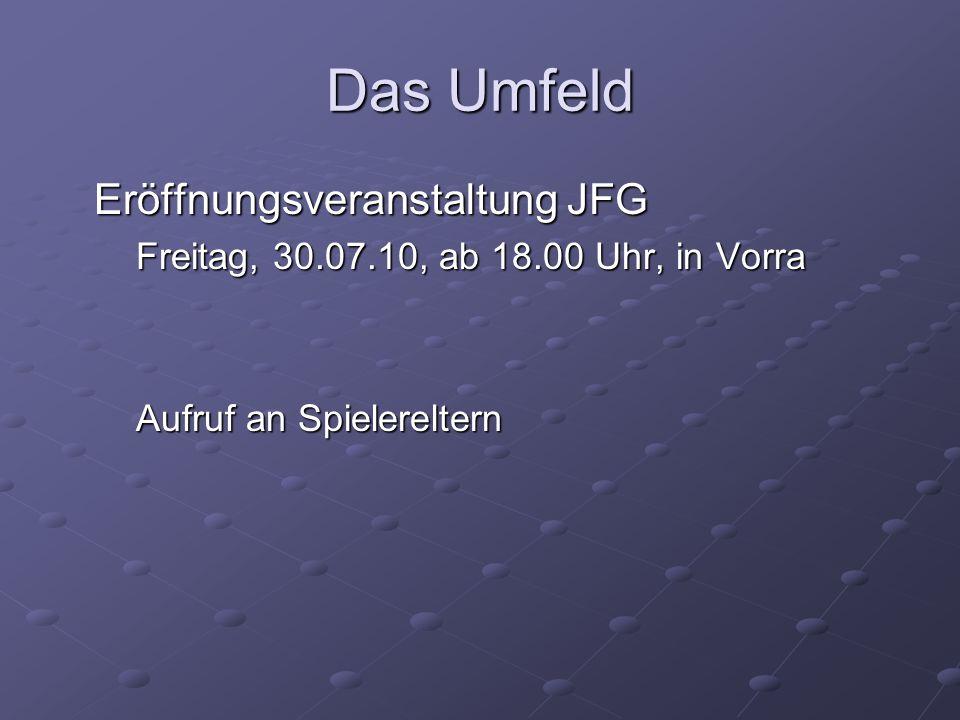Das Umfeld Eröffnungsveranstaltung JFG Freitag, 30.07.10, ab 18.00 Uhr, in Vorra Aufruf an Spielereltern