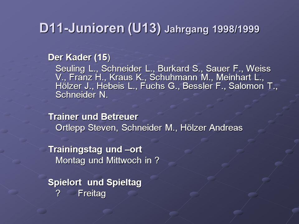 D11-Junioren (U13) Jahrgang 1998/1999 Der Kader (15) Seuling L., Schneider L., Burkard S., Sauer F., Weiss V., Franz H., Kraus K., Schuhmann M., Meinhart L., Hölzer J., Hebeis L., Fuchs G., Bessler F., Salomon T., Schneider N.