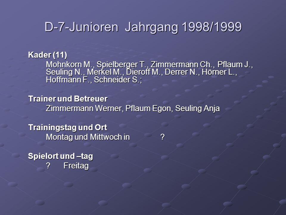 D-7-Junioren Jahrgang 1998/1999 Kader (11) Mohnkorn M., Spielberger T., Zimmermann Ch., Pflaum J., Seuling N., Merkel M., Dieroff M., Derrer N., Hörner L., Hoffmann F., Schneider S.; Trainer und Betreuer Zimmermann Werner, Pflaum Egon, Seuling Anja Trainingstag und Ort Montag und Mittwoch in .