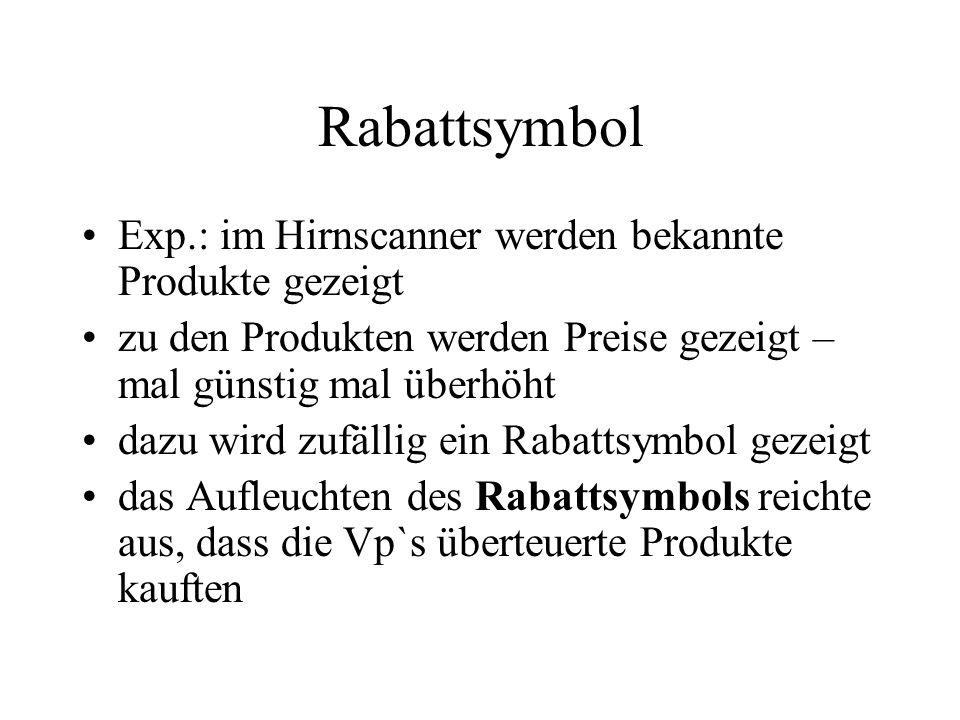 Rabattsymbol Exp.: im Hirnscanner werden bekannte Produkte gezeigt zu den Produkten werden Preise gezeigt – mal günstig mal überhöht dazu wird zufälli