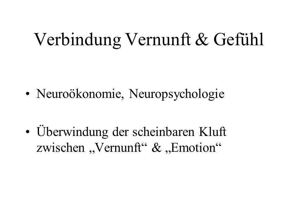 """Verbindung Vernunft & Gefühl Neuroökonomie, Neuropsychologie Überwindung der scheinbaren Kluft zwischen """"Vernunft"""" & """"Emotion"""""""