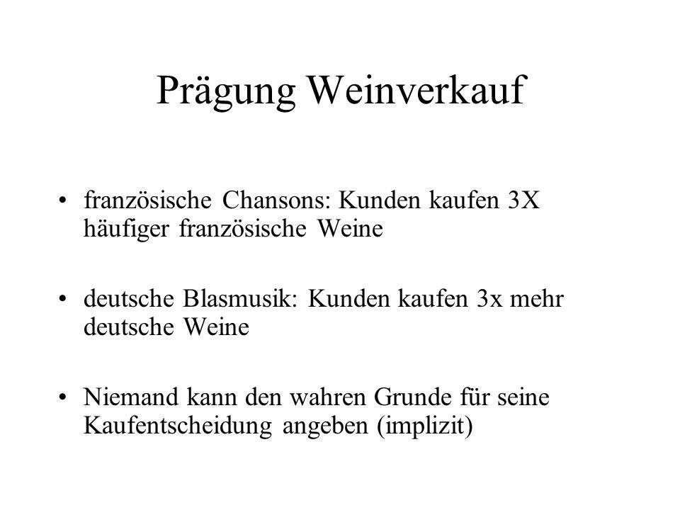Prägung Weinverkauf französische Chansons: Kunden kaufen 3X häufiger französische Weine deutsche Blasmusik: Kunden kaufen 3x mehr deutsche Weine Niema