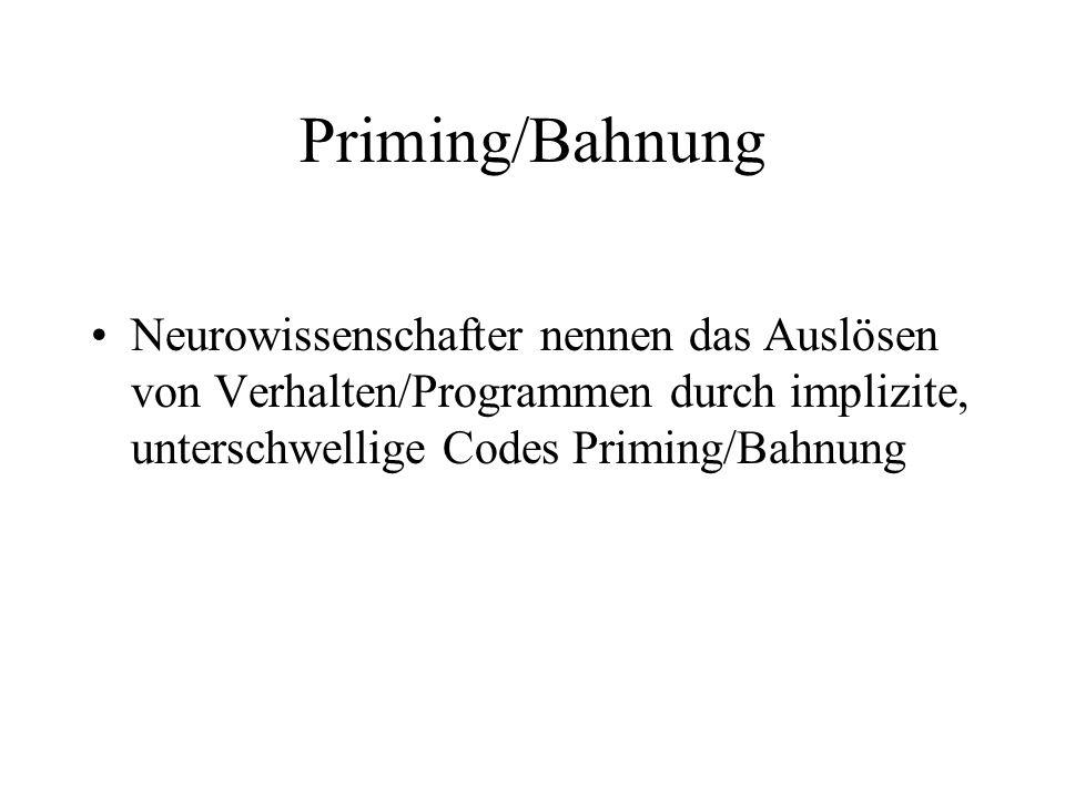 Priming/Bahnung Neurowissenschafter nennen das Auslösen von Verhalten/Programmen durch implizite, unterschwellige Codes Priming/Bahnung