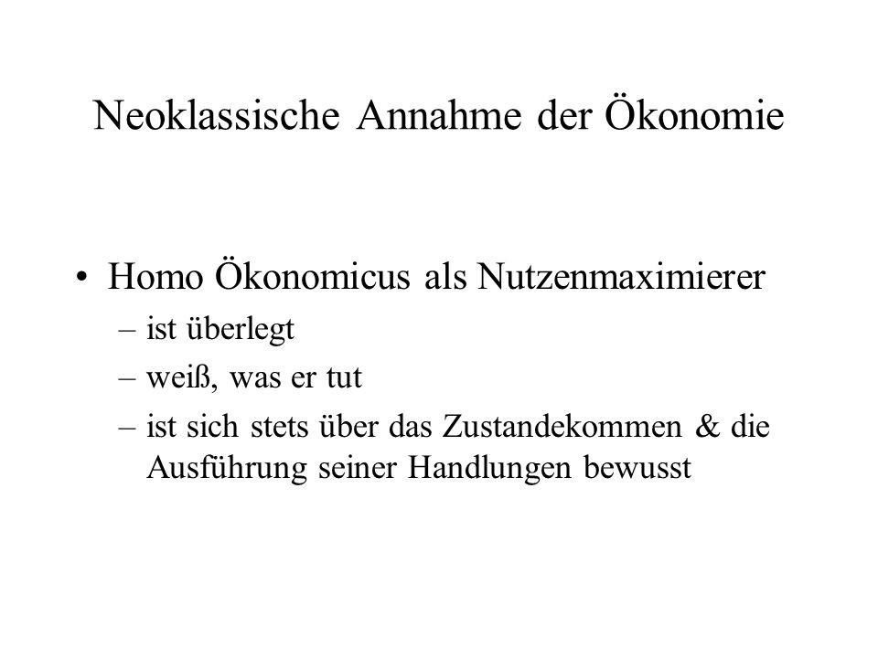 Neoklassische Annahme der Ökonomie Homo Ökonomicus als Nutzenmaximierer –ist überlegt –weiß, was er tut –ist sich stets über das Zustandekommen & die