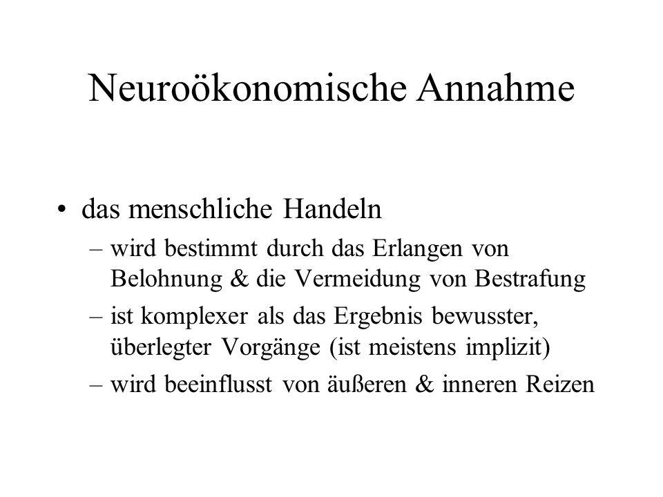 Neuroökonomische Annahme das menschliche Handeln –wird bestimmt durch das Erlangen von Belohnung & die Vermeidung von Bestrafung –ist komplexer als da