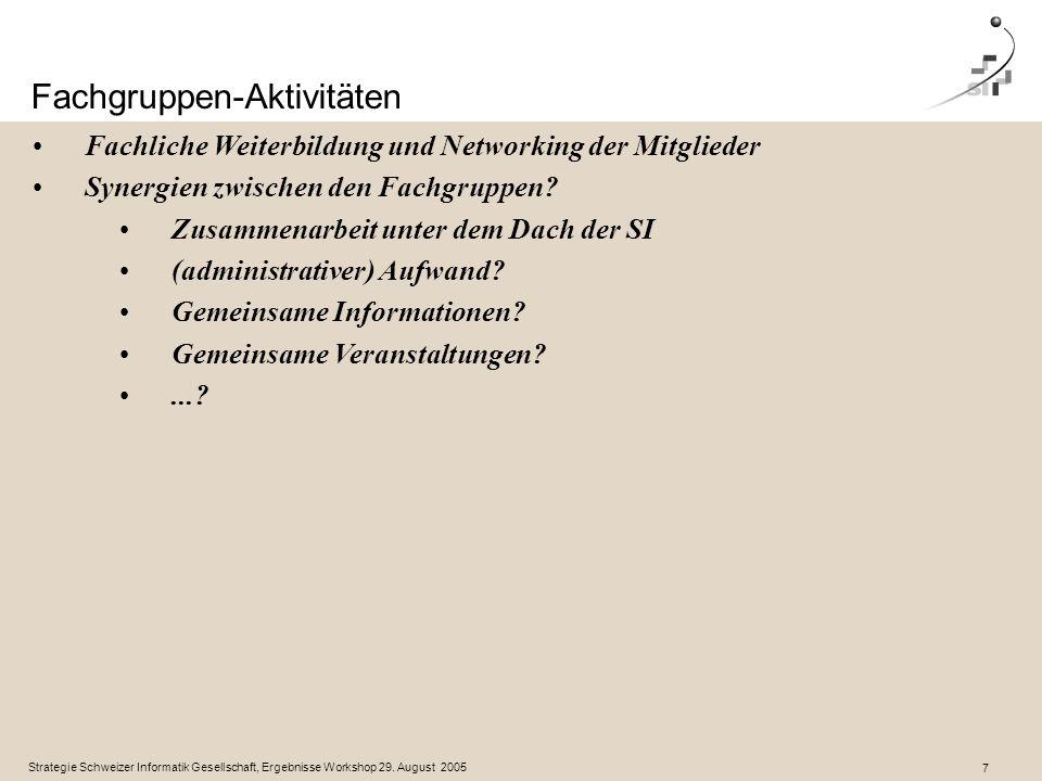 Strategie Schweizer Informatik Gesellschaft, Ergebnisse Workshop 29.