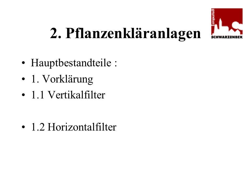 2. Pflanzenkläranlagen Hauptbestandteile : 1. Vorklärung 1.1 Vertikalfilter 1.2 Horizontalfilter