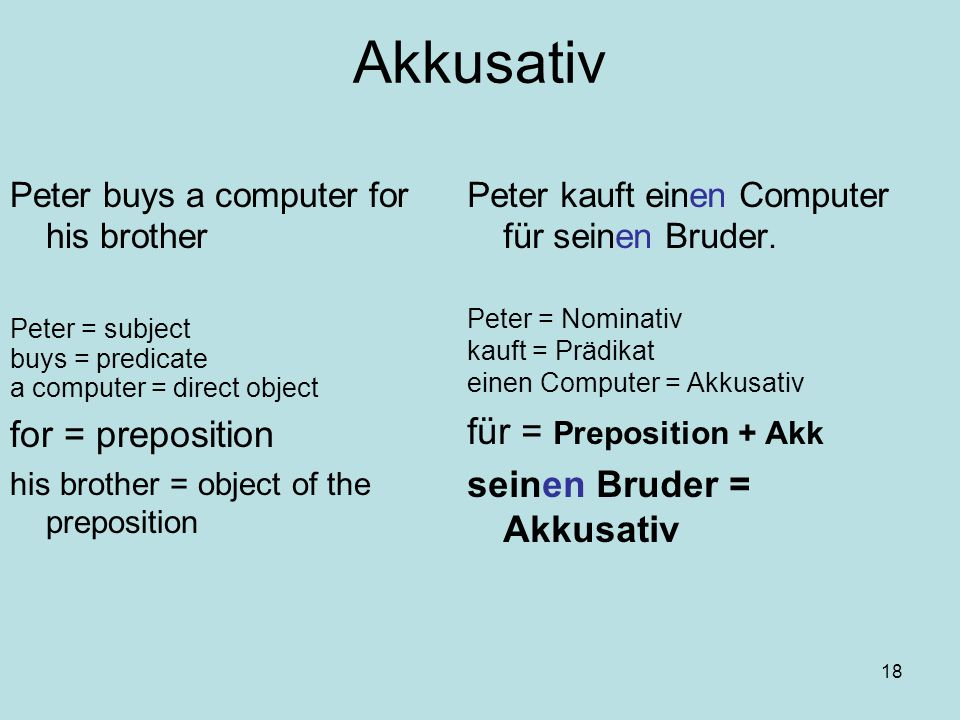 18 Akkusativ Peter buys a computer for his brother Peter = subject buys = predicate a computer = direct object for = preposition his brother = object