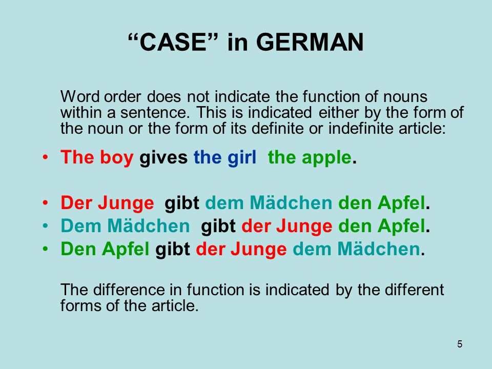 6 CASE in GERMAN There are four different cases in German: the nominative [der Nominativ] used for the subject of a sentence the accusative [der Akkusativ] used for direct objects the dative [der Dativ] used for indirect objects and after some special verbs the genitive [der Genitiv] used to show possession or close relation The boy gives the girl the apple.
