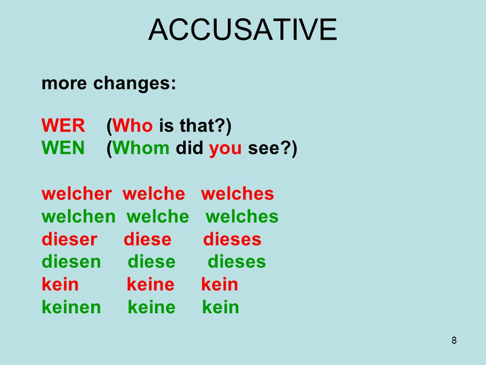 19 negation The negating word NICHT is usually placed in front of the element of the sentence which is to be negated: Der Test war nicht schwer.