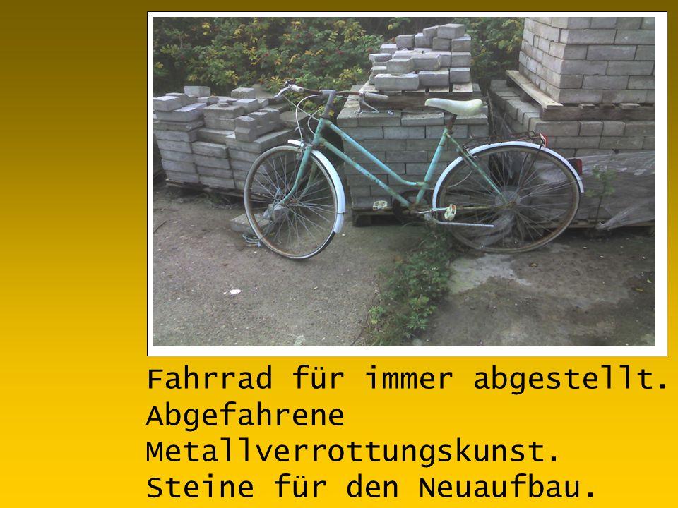 Fahrrad für immer abgestellt. Abgefahrene Metallverrottungskunst. Steine für den Neuaufbau.