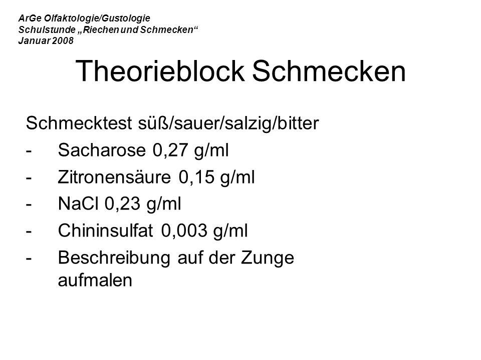 """ArGe Olfaktologie/Gustologie Schulstunde """"Riechen und Schmecken Januar 2008 Schmecktest süß/sauer/salzig/bitter -Sacharose 0,27 g/ml -Zitronensäure 0,15 g/ml -NaCl 0,23 g/ml -Chininsulfat 0,003 g/ml -Beschreibung auf der Zunge aufmalen Theorieblock Schmecken"""