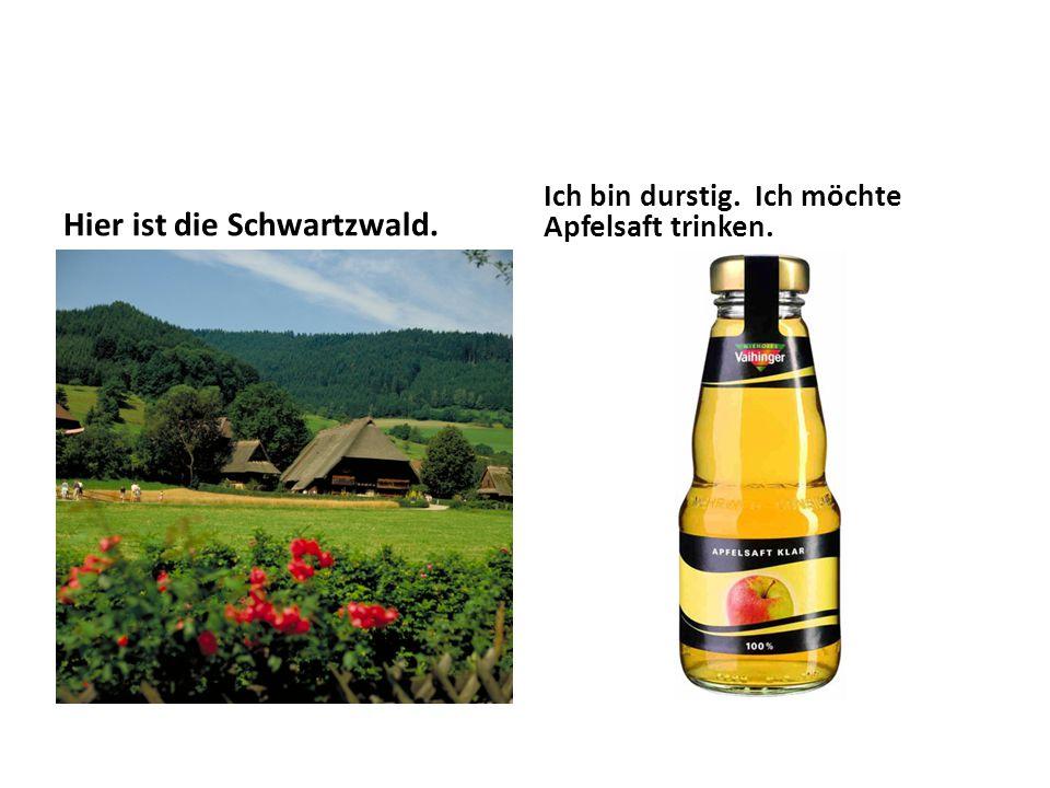 Hier ist die Schwartzwald. Ich bin durstig. Ich möchte Apfelsaft trinken.