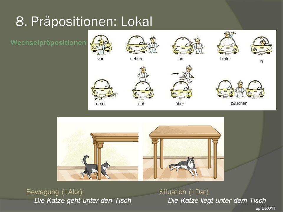8. Präpositionen: Lokal Wechselpräpositionen Bewegung (+Akk): Situation (+Dat) Die Katze geht unter den TischDie Katze liegt unter dem Tisch apfD60314