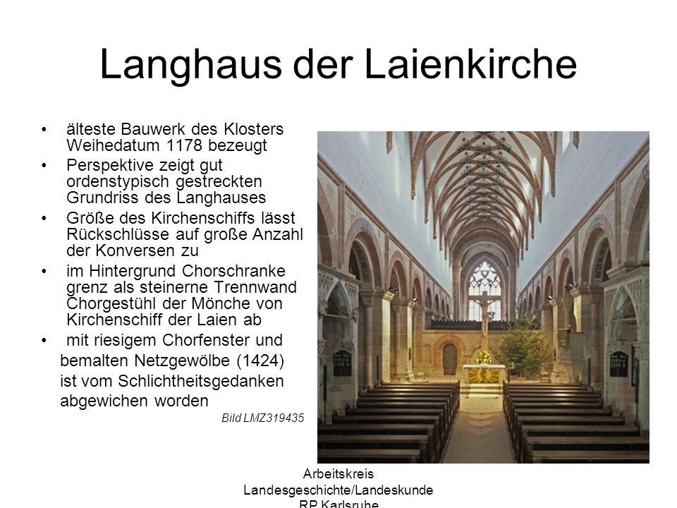Arbeitskreis Landesgeschichte/Landeskunde RP Karlsruhe Langhaus der Laienkirche älteste Bauwerk des Klosters Weihedatum 1178 bezeugt Perspektive zeigt