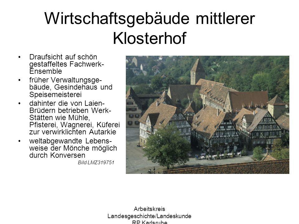 Arbeitskreis Landesgeschichte/Landeskunde RP Karlsruhe Fruchtkasten und Kelter mächtiger Bau beherrscht das Erscheinungsbild im Klosterhof Bäume verdecken das wuchtige Bauwerk seit ca.