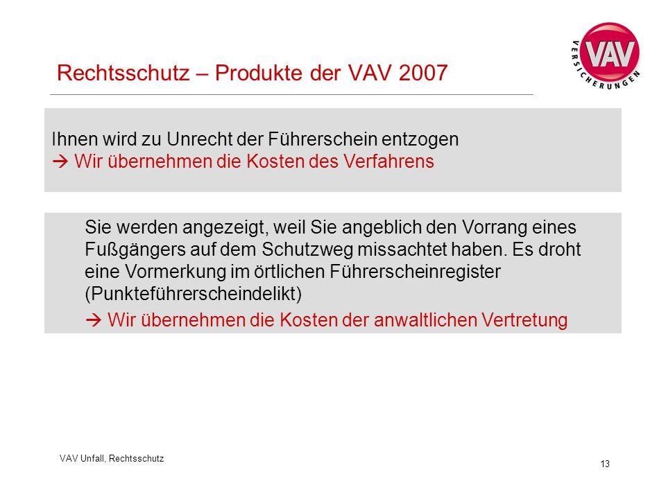 VAV Unfall, Rechtsschutz 13 Rechtsschutz – Produkte der VAV 2007 Ihnen wird zu Unrecht der Führerschein entzogen  Wir übernehmen die Kosten des Verfa