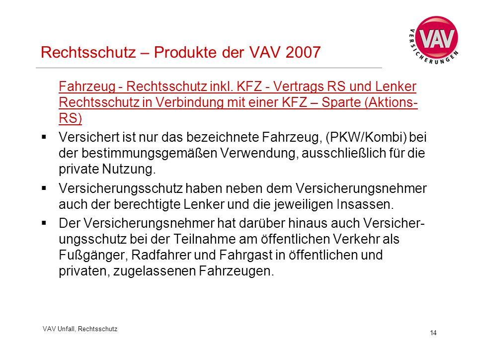 VAV Unfall, Rechtsschutz 14 Rechtsschutz – Produkte der VAV 2007 Fahrzeug - Rechtsschutz inkl. KFZ - Vertrags RS und Lenker Rechtsschutz in Verbindung