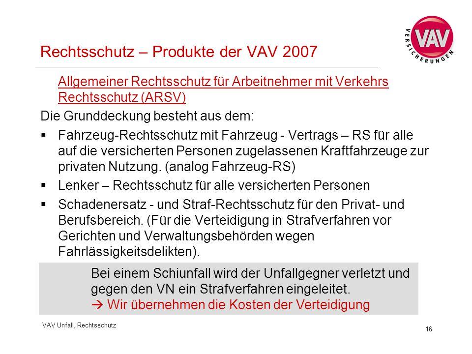 VAV Unfall, Rechtsschutz 16 Rechtsschutz – Produkte der VAV 2007 Allgemeiner Rechtsschutz für Arbeitnehmer mit Verkehrs Rechtsschutz (ARSV) Die Grunddeckung besteht aus dem:  Fahrzeug-Rechtsschutz mit Fahrzeug - Vertrags – RS für alle auf die versicherten Personen zugelassenen Kraftfahrzeuge zur privaten Nutzung.