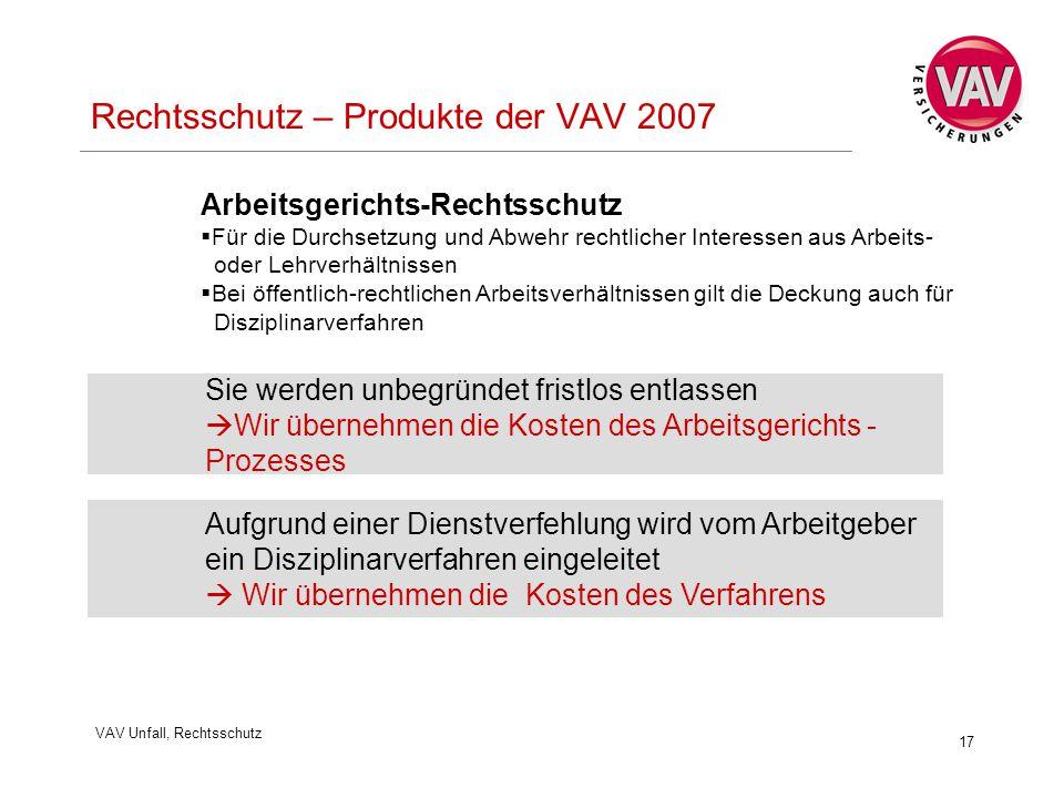 VAV Unfall, Rechtsschutz 17 Rechtsschutz – Produkte der VAV 2007 Sie werden unbegründet fristlos entlassen  Wir übernehmen die Kosten des Arbeitsgeri