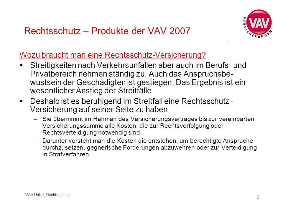 VAV Unfall, Rechtsschutz 2 Rechtsschutz – Produkte der VAV 2007 Wozu braucht man eine Rechtsschutz-Versicherung?  Streitigkeiten nach Verkehrsunfälle
