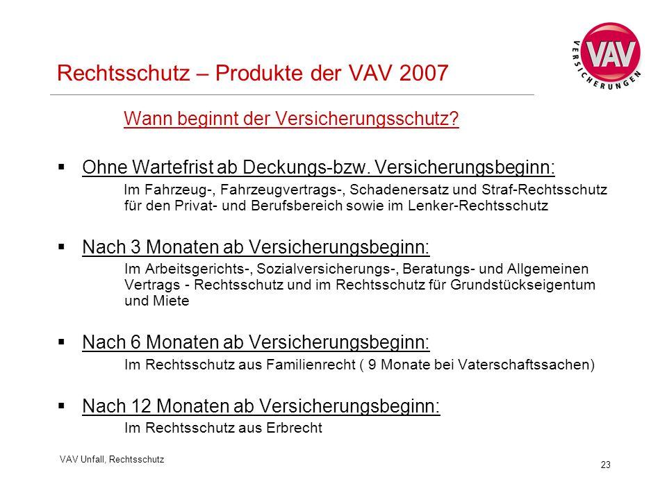 VAV Unfall, Rechtsschutz 23 Rechtsschutz – Produkte der VAV 2007 Wann beginnt der Versicherungsschutz?  Ohne Wartefrist ab Deckungs-bzw. Versicherung