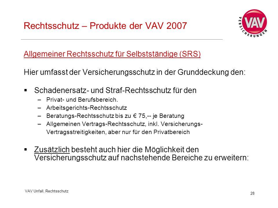 VAV Unfall, Rechtsschutz 28 Rechtsschutz – Produkte der VAV 2007 Allgemeiner Rechtsschutz für Selbstständige (SRS) Hier umfasst der Versicherungsschutz in der Grunddeckung den:  Schadenersatz- und Straf-Rechtsschutz für den –Privat- und Berufsbereich.