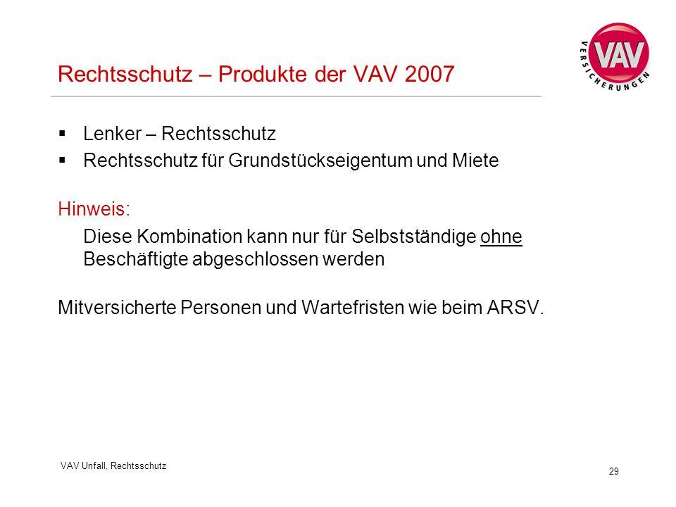 VAV Unfall, Rechtsschutz 29 Rechtsschutz – Produkte der VAV 2007  Lenker – Rechtsschutz  Rechtsschutz für Grundstückseigentum und Miete Hinweis: Die