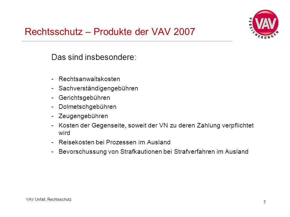 VAV Unfall, Rechtsschutz 3 Rechtsschutz – Produkte der VAV 2007 Das sind insbesondere: -Rechtsanwaltskosten -Sachverständigengebühren -Gerichtsgebühre