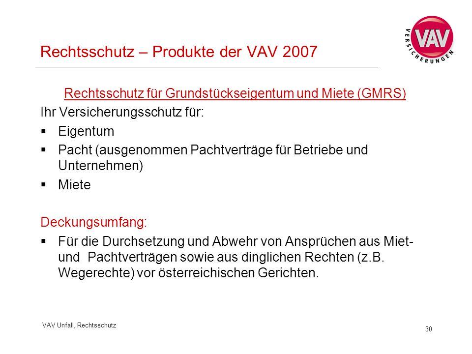 VAV Unfall, Rechtsschutz 30 Rechtsschutz – Produkte der VAV 2007 Rechtsschutz für Grundstückseigentum und Miete (GMRS) Ihr Versicherungsschutz für: 